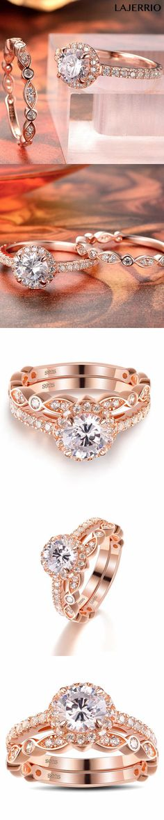 Lajerrio Jewelry Rose Gold Round Cut White Sapphire Sterling Silver Ring Sets