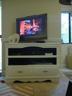 Free dresser converted to a TV stand. #thissarahloves