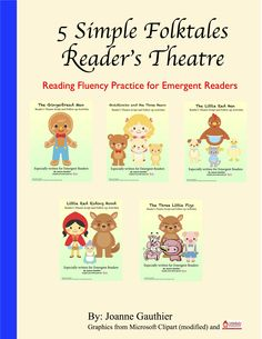 5 reader's theatre scripts for common folktales, especially written for emergent readers with simplified language and repetition. Also includes comprehension and story-mapping follow-up activities, aligned to Common Core, which ask students to sequence, draw and orally discuss ideas and offer personal opinions.