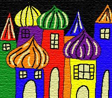 ville imaginaire à la manière de Hundertwasser