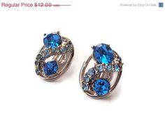 Vintage Blue Rhinestone Earrings, Blue Costume Jewelry, Silver Tone Clip On Earrings,$10.80, via Etsy.