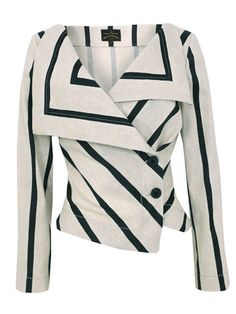 Shop for Anglomania Stone Jacket by Vivienne Westwood at ShopStyle. White Fashion, Look Fashion, Fashion Outfits, Womens Fashion, Fashion Design, Fashion Styles, Street Fashion, Striped Blazer, Striped Jacket