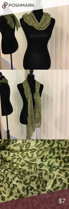 Green leopard print scarf‼️ Green leopard print scarf- 100% polyester Accessories Scarves & Wraps