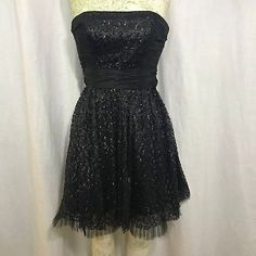 Betsey Johnson Black Strapless Party Cocktail Dress 2 Sequined Cummerbund Sash