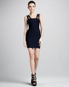 Herve Leger Double-Strap Bandage Dress, Blue - Neiman Marcus
