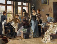 """I love the feeling of excitement and camaraderie conveyed by this painting! """"The New Dress"""" by Moritz Stifter (1857-1905)"""
