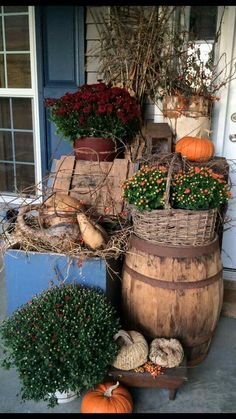 Where do you keep all these barrels and crates the rest of the year? And how do you get your husband not to grump about it? I like it though...