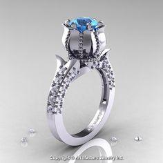 Classic 950 Platinum 1.0 Ct Aquamarine Diamond by artmasters, $2279.00, so creative, love it!!!