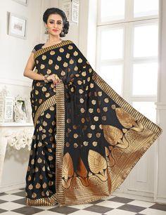 Black Banarasi Silk Saree With Blouse 64057
