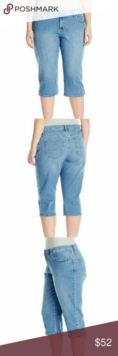 """Plus-Size Relaxed Fit Denim Capri Pant Plus-Size Relaxed Fit Denim Capri Pant Color:  Lunar, Clear Sky 82% Cotton, 17% Polyester, 1% Spandex Machine Wash More comfort, more style Basic 5-pocket denim Capri Sleek deco stitching at hip pockets Rise: 11.625"""", Leg Opening: 18.5"""", Inseam: 20"""" Product measurements were taken using size 20W. Please note that measurements may vary by size. Jeans Ankle & Cropped"""