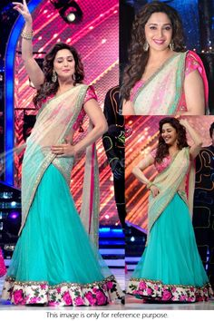 Buy Bollywood Style Madhuri Dixit Viscose Georgette Saree In Sky Blue Colour online in India at best price.Bollywood celebrities have given a new dimension to the Indian Saree giving a whole new range of variety Half Saree Lehenga, Bollywood Lehenga, Bollywood Outfits, Bridal Lehenga Choli, Georgette Sarees, Bollywood Fashion, Bollywood Style, Designer Bridal Lehenga, Designer Sarees