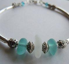 Aqua Sea Glass Bracelet by BeachGlassMemories on Etsy