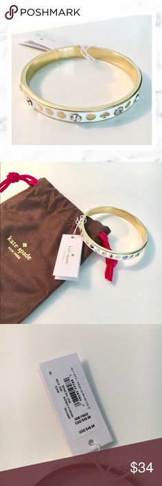 Kate Spade White and Gold Bracelet Kate Spade white and gold bracelet. New with tags! Comes with dust bag as shown. kate spade Jewelry Bracelets
