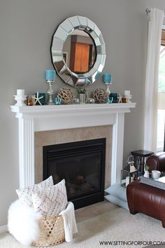 See this #QuickandEasy Living Room Makevover - Fireplace Mantel Decor