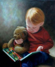 Precious painting of a little boy reading with his Teddy bear. --- by Dee Lessard Reading Art, I Love Reading, Kids Reading, I Love Books, Good Books, Books To Read, My Books, World Of Books, Lectures