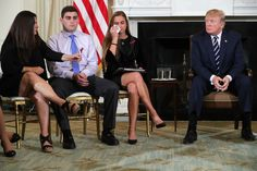 Donald Trump hosts a listening session with Marjory Stoneman Douglas High School shooting survivors Julie Cordover and Jonathan Blank and his mother Melissa Blank and others.