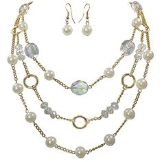 3 Row Layered Imitation Pearl Beaded Necklace And Earrings Set - Assorted Colors (White) -- For more information, visit image link.