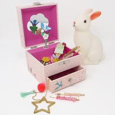 This lovely music box is a perfect place to keep child's precious treasures. Turn the knob on the back and see the finchtwirl to the tune ( Le temps des ceris