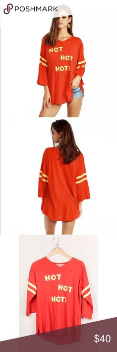Wildfox Couture Hot Hot Hot Jersey Tee India Red Wildfox Couture Hot Hot Hot Jersey Tee Tunic Top T-Shirt India Red Size XS NWT  Bust: 24.5  Waist: 22.5  Length: 27 Wildfox Couture Tops Tees - Short Sleeve