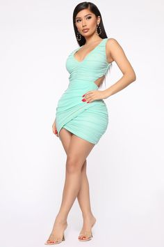 You're Too Late Ruched Mini Dress - Mint – Fashion Nova Belted Shirt Dress, Mini Shirt Dress, Bodycon Dress, Bandage Dresses, Satin Dresses, Short Outfits, Sexy Outfits, Dress Outfits, Look Body
