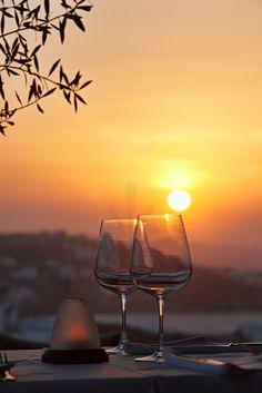 Sunset time in Mykonos, Greece
