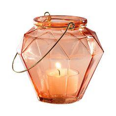 Facet Glass Lantern Short - Copper (Brown)