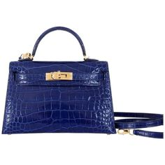 Limited Edition Hermes 20cm Blue Sapphire alligator Mini Sellier Kelly Bag Gold | From a collection of rare vintage top-handle-bags at https://www.1stdibs.com/fashion/handbags-purses-bags/top-handle-bags/