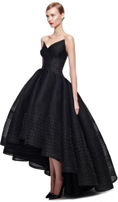 ZAC POSEN Black Embroidered Organza Gown