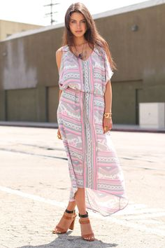 La Vie en Rose - Leyendecker Dress, Zara High Heel Buckled Sandals, Beso Beso Necklaces & Rings