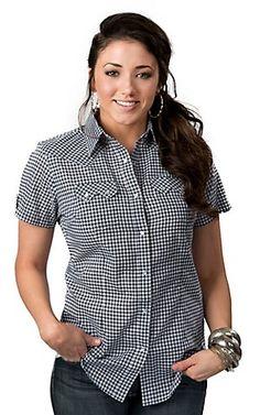 Wrangler® Women's Navy and White Gingham Plaid Short Sleeve Western Shirt