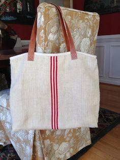 5c9de8383c0f Items similar to Tote Bag Grain Sack Bag Tote blue grain sack bag grain  sack tote on Etsy