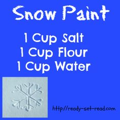 Recipe for Snow Paint- makes a gritty, sparkly white paint that looks like snow. With line tracing activity based on book A Snowy Day -good for prewriting practice