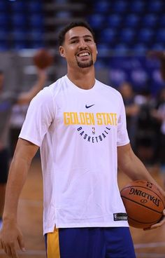 Klay Thompson of the Golden State Warriors during practice and media availability at Shenzhen Gymnasium as part of 2017 NBA Global. Golden State Basketball, Basketball Jersey, Basketball Rules, Basketball Floor, Basketball Tickets, Basketball Skills, Nba Players, Basketball Players, Sports Teams