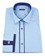 Luxury slim dress shirt by French designer Franck Michel in turquoise with colorful details .$99.00