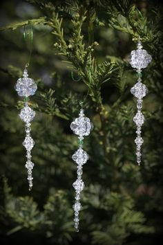 "Set of Five Beaded Icicle Ornaments - ""Winter Aria"""