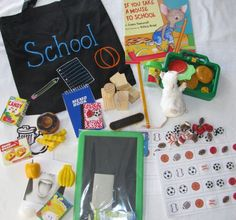 If You Take a Mouse to School literacy bag … Literacy Bags, Emergent Literacy, Preschool Literacy, Preschool Books, Early Literacy, Teaching Kindergarten, Book Activities, September Themes, Teaching Schools