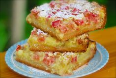 Amish Rhubarb Dream Bars with AllPurpose Flour Sugar Butter Extra Large Eggs Sugar AllPurpose Flour Salt Rhubarb Rhubarb Desserts, Rhubarb Recipes, Just Desserts, Delicious Desserts, Yummy Food, Rhubarb Ideas, Strawberry Desserts, Amish Recipes, Baking Recipes