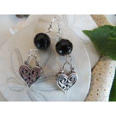 Heart Earrings, Sterling Silver Earrings, Black Tourmaline Earrings,... (€61) ❤ liked on Polyvore featuring jewelry and earrings