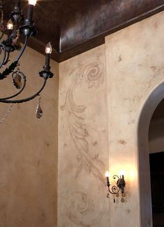 Modello™ Design stencils and hand-painting on walls by Mia Pratt and Sue Kinsman.: