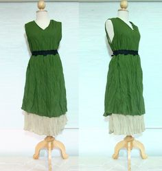 Forest Layering Green Cotton Dress
