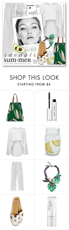 """Summer Sandals"" by stylemeup-649 ❤ liked on Polyvore featuring Marni, Bobbi Brown Cosmetics, Carla Zampatti, Sur La Table, Rachel Comey, Lanvin, Hermès, NARS Cosmetics, Gap and denim"
