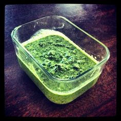 Low calorie healthy Pesto! 1 overflowing cup of basil 2 cloves of garlic 1/4 cup of fat free ricotta cheese 2 tablespoons of pine nuts a generous pinch of salt and pepper