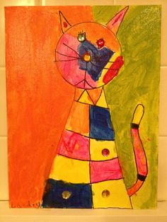 A Cubist cat painted by ladybug, 6 years old • Art My Kid Made #kidart