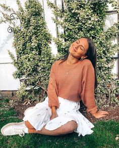 Our comfy think happy sweater and holding hands in the garden skirt on cutie pie @melinddaaaa 🏹🌼✨Tap to shop