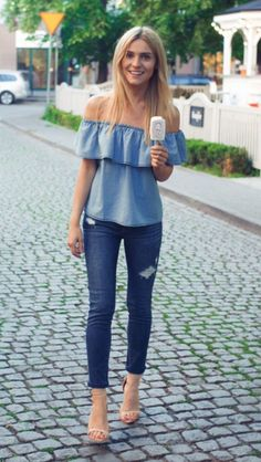 Cute chambray off the shoulder top