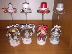 DIY Home Decor Ideas; cheap and easy candle holders. Christmas Candle Holders, Christmas Candles, Christmas Ornaments, Christmas Decor, Christmas Ideas, Wine Glass Candle Holder, Wine Candles, Christmas Crafts For Gifts, Christmas Wine