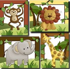 Set of 4 Jungle Safari Animals - Elephant, Lion, Monkey and Giraffe Babies Bedroom Nursery ART PRINTS - try to make as