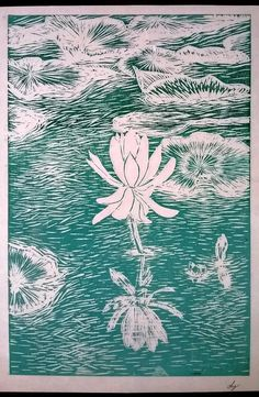 Water Lily Linocut art for sale Hand pulled print Handmade by Laura Young - MagnoliaLily