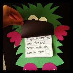 Fall Craft {Monster Craft and Writing} by Miss Kindergarten Love Miss Kindergarten, Kindergarten Classroom, Kindergarten Activities, Writing Activities, Classroom Activities, Classroom Ideas, Monster Classroom, Classroom Door, Future Classroom