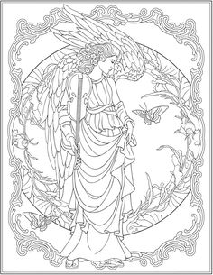 Creative Haven ELEGANT ANGELS Coloring Book By: Marty Noble ...
